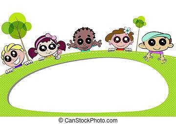 crianças, painél publicitário