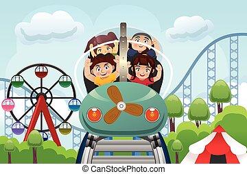 crianças, parque divertimento, tocando