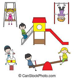 crianças, parque, tocando