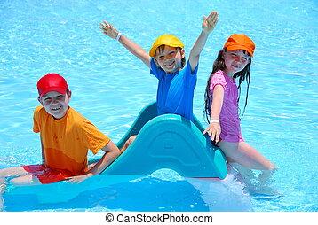 crianças, piscina, feliz
