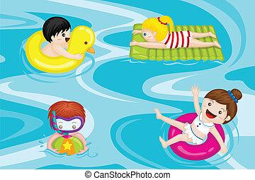 crianças, piscina, natação