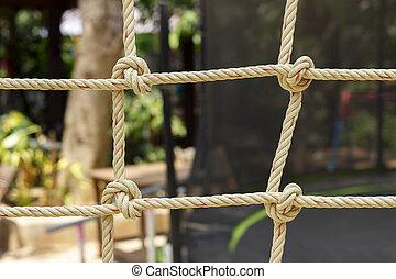 crianças, playground., corda, closeup, brinquedo, rede