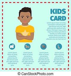 crianças, pretas, cartão, modelo, criança