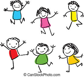 crianças, pular, feliz