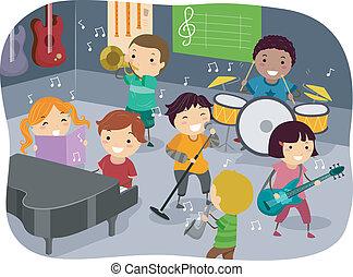 crianças, quarto música