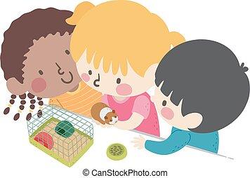 crianças, sala aula, animal estimação, ilustração