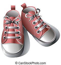 crianças, sapatos