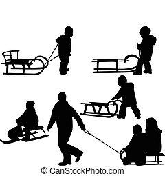 crianças, sledding