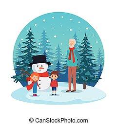 crianças, snowscape, avô