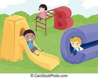 crianças, stickman, pátio recreio