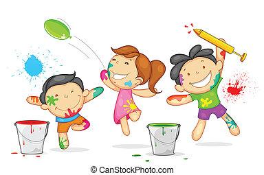 crianças, tocando, holi
