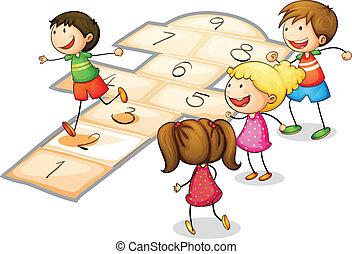 crianças, tocando