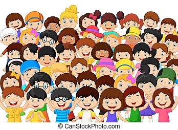 crianças, torcida, caricatura