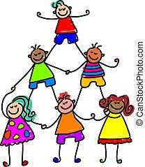 crianças, trabalho equipe
