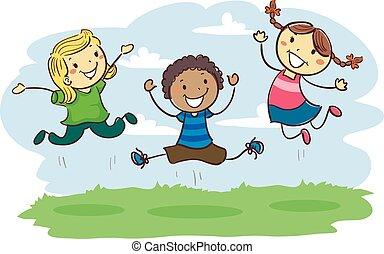 crianças, vara, junto, pular