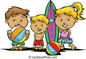 crianças verão, imagem, vetorial, praia, ou, piscina, natação