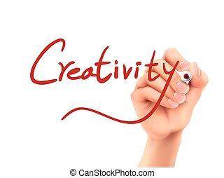 criatividade, palavra escrita, mão