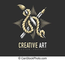 criativo, rope., emblema, heraldic, lápis, concept., escova, arte