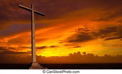 cristão, experiência., sky., crucifixos, religião, pôr do sol