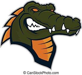 crocodilo, cabeça, mascote