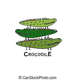 crocodilos, esboço, família, desenho, seu