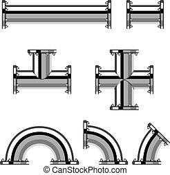 cromo, canos, vetorial, flange