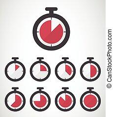 cronômetro, ícone, estilo, desenho, apartamento