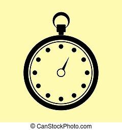 cronômetro, apartamento, sinal., estilo, ícone