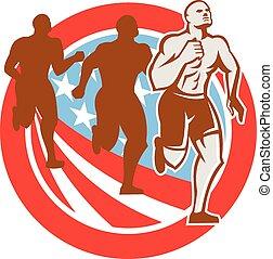 crossfit, bandeira eua, americano, retro, círculo, corredores