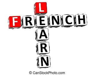 crossword, 3d, francês, aprender