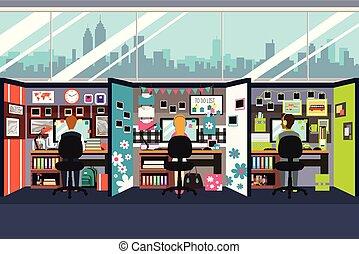 cubículos escritório, pessoas negócio, trabalhando, ilustração