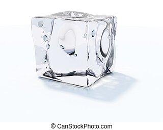 cubo branco, isolado, gelo