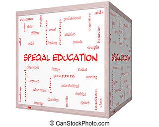 cubo, palavra, whiteboard, conceito, nuvem, educação, especiais, 3d