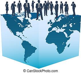 cubo, pessoas negócio, global, mundo, recursos