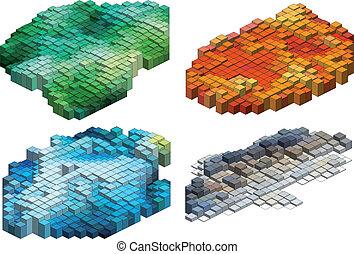 cubos, vetorial, fundo, 3d