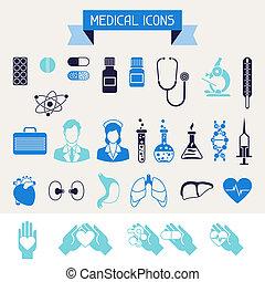 cuidado médico, saúde, set., ícones