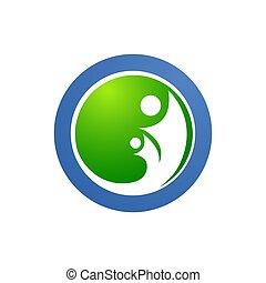 cuidado, símbolos, logotipo, amor familiar, human, círculo