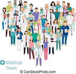 cuidados de saúde, médico, forma, coração, equipe