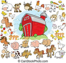 cultive animais, projeto fixo, vetorial