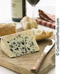 cunha, baguette, roquefort, rústico, queijo, vinho tinto