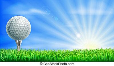 curso, bola, baliza golfe