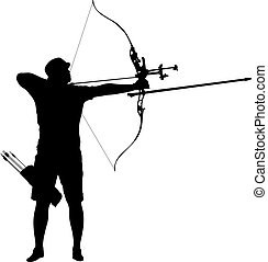curvatura, macho, silueta, alvo, arco, arqueiro, atraente, apontar