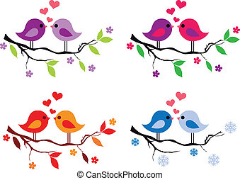 cute, árvore, pássaros, vermelho, corações