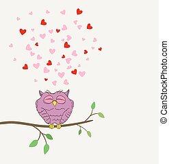 cute, amor, coruja, vetorial, twig., sonhar, corações