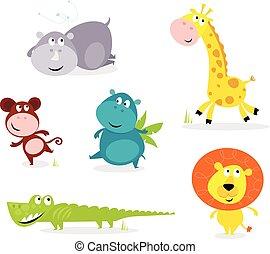 cute, animais, seis, -, safari, girafa