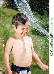 cute, ao ar livre, muito, água, filho jogando