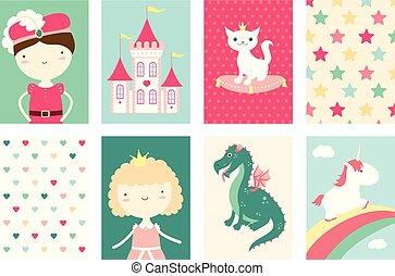 cute, bandeiras, jogo, caráteres, fairy-fairy-tale