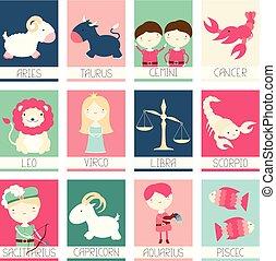 cute, bandeiras, signos, caráteres, cobrança