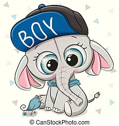 cute, branca, caricatura, fundo, elefante