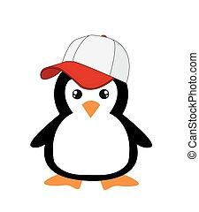 cute, branca, caricatura, fundo, pingüim
